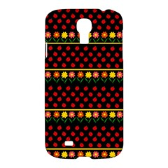 Ladybugs And Flowers Samsung Galaxy S4 I9500/i9505 Hardshell Case by Valentinaart