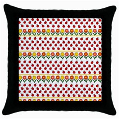 Ladybugs And Flowers Throw Pillow Case (black) by Valentinaart