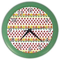Ladybugs And Flowers Color Wall Clocks by Valentinaart
