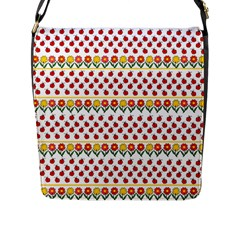 Ladybugs And Flowers Flap Messenger Bag (l)  by Valentinaart