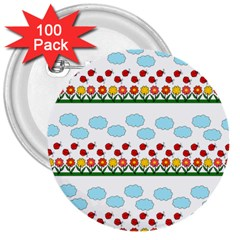 Ladybugs And Flowers 3  Buttons (100 Pack)  by Valentinaart