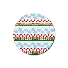 Ladybugs And Flowers Rubber Coaster (round)  by Valentinaart