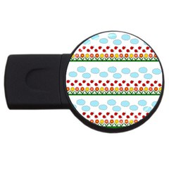 Ladybugs And Flowers Usb Flash Drive Round (4 Gb) by Valentinaart