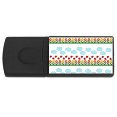 Ladybugs And Flowers Usb Flash Drive Rectangular (4 Gb) by Valentinaart