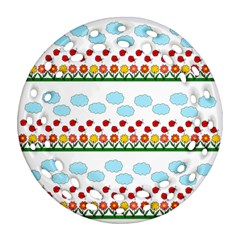 Ladybugs And Flowers Ornament (round Filigree) by Valentinaart