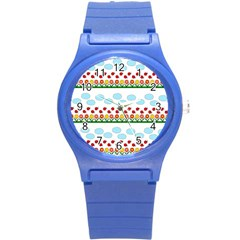 Ladybugs And Flowers Round Plastic Sport Watch (s) by Valentinaart