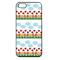 Ladybugs And Flowers Apple Iphone 5 Seamless Case (black) by Valentinaart