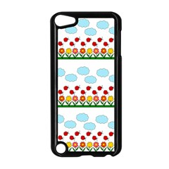 Ladybugs And Flowers Apple Ipod Touch 5 Case (black) by Valentinaart