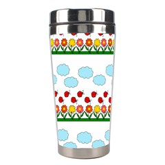 Ladybugs And Flowers Stainless Steel Travel Tumblers by Valentinaart