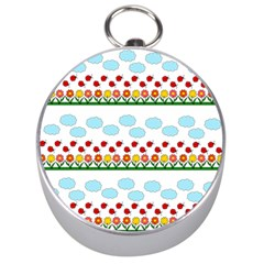 Ladybugs And Flowers Silver Compasses by Valentinaart