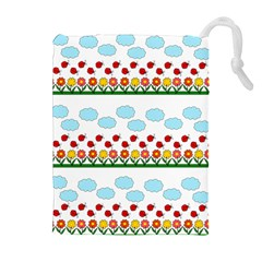 Ladybugs And Flowers Drawstring Pouches (extra Large) by Valentinaart