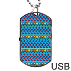 Ladybugs And Flowers Dog Tag Usb Flash (two Sides) by Valentinaart