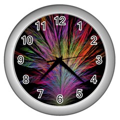 Fractal In Many Different Colours Wall Clocks (silver)  by Simbadda