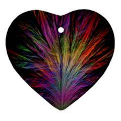 Fractal In Many Different Colours Heart Ornament (two Sides) by Simbadda