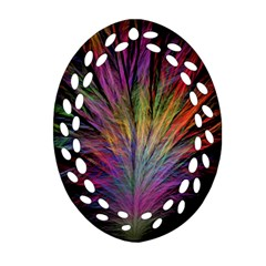 Fractal In Many Different Colours Oval Filigree Ornament (two Sides) by Simbadda