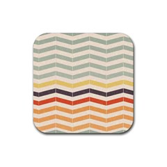 Abstract Vintage Lines Rubber Square Coaster (4 Pack)  by Simbadda