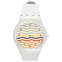 Abstract Vintage Lines Round Plastic Sport Watch (m) by Simbadda