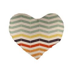 Abstract Vintage Lines Standard 16  Premium Flano Heart Shape Cushions by Simbadda