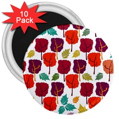 Colorful Trees Background Pattern 3  Magnets (10 Pack)  by Simbadda