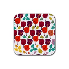 Colorful Trees Background Pattern Rubber Coaster (square)  by Simbadda