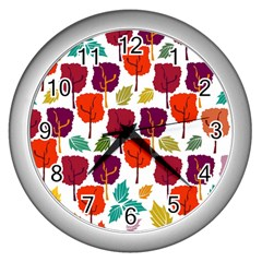 Colorful Trees Background Pattern Wall Clocks (silver)  by Simbadda