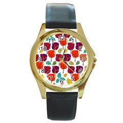 Colorful Trees Background Pattern Round Gold Metal Watch by Simbadda