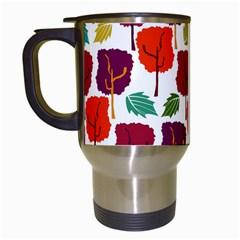 Colorful Trees Background Pattern Travel Mugs (white) by Simbadda