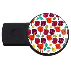 Colorful Trees Background Pattern USB Flash Drive Round (4 GB) by Simbadda