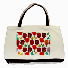 Colorful Trees Background Pattern Basic Tote Bag by Simbadda