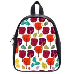 Colorful Trees Background Pattern School Bags (small)  by Simbadda