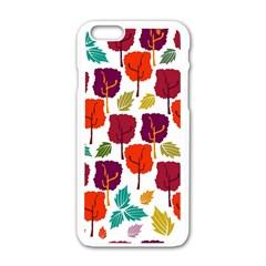 Colorful Trees Background Pattern Apple Iphone 6/6s White Enamel Case by Simbadda
