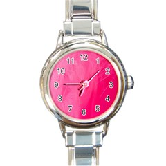Very Pink Feather Round Italian Charm Watch by Simbadda