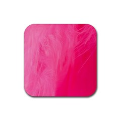 Very Pink Feather Rubber Coaster (square)  by Simbadda