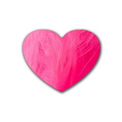 Very Pink Feather Heart Coaster (4 Pack)  by Simbadda