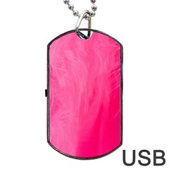Very Pink Feather Dog Tag Usb Flash (two Sides) by Simbadda