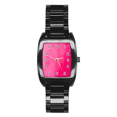 Very Pink Feather Stainless Steel Barrel Watch by Simbadda