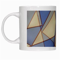 Blue And Tan Triangles Intertwine Together To Create An Abstract Background White Mugs by Simbadda