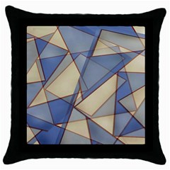 Blue And Tan Triangles Intertwine Together To Create An Abstract Background Throw Pillow Case (black) by Simbadda
