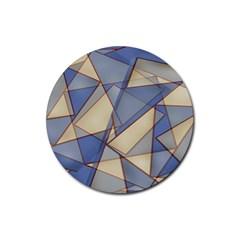 Blue And Tan Triangles Intertwine Together To Create An Abstract Background Rubber Coaster (round)  by Simbadda
