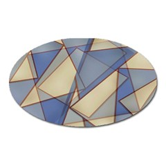 Blue And Tan Triangles Intertwine Together To Create An Abstract Background Oval Magnet by Simbadda