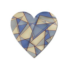 Blue And Tan Triangles Intertwine Together To Create An Abstract Background Heart Magnet by Simbadda