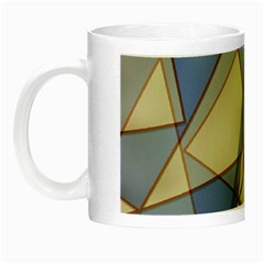Blue And Tan Triangles Intertwine Together To Create An Abstract Background Night Luminous Mugs by Simbadda