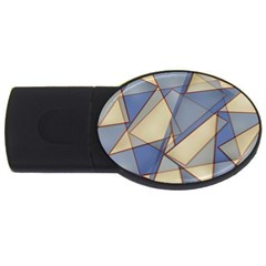 Blue And Tan Triangles Intertwine Together To Create An Abstract Background Usb Flash Drive Oval (4 Gb) by Simbadda