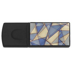 Blue And Tan Triangles Intertwine Together To Create An Abstract Background Usb Flash Drive Rectangular (4 Gb) by Simbadda
