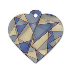 Blue And Tan Triangles Intertwine Together To Create An Abstract Background Dog Tag Heart (two Sides) by Simbadda