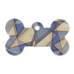 Blue And Tan Triangles Intertwine Together To Create An Abstract Background Dog Tag Bone (two Sides) by Simbadda
