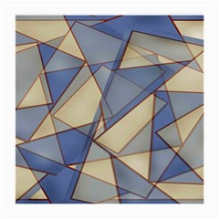 Blue And Tan Triangles Intertwine Together To Create An Abstract Background Medium Glasses Cloth (2 Side) by Simbadda