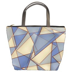 Blue And Tan Triangles Intertwine Together To Create An Abstract Background Bucket Bags by Simbadda