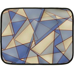 Blue And Tan Triangles Intertwine Together To Create An Abstract Background Fleece Blanket (mini) by Simbadda