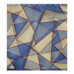 Blue And Tan Triangles Intertwine Together To Create An Abstract Background Shower Curtain 66  X 72  (large)  by Simbadda